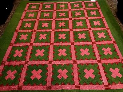 Antique Red, Green, and Pink Quilt