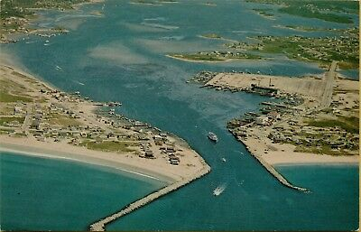 1965 Air Aerial View Galilee Jerusalem Shoreline Rhode Island RI Postcard D7