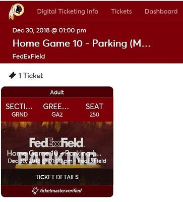GREEN (GRND) Parking Pass, Redskins vs Eagles, Dec. 30, 2018