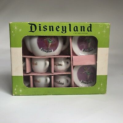 Vintage 1960's Disneyland Walt Disney Tinkerbell Minature 9-pc Tea Set