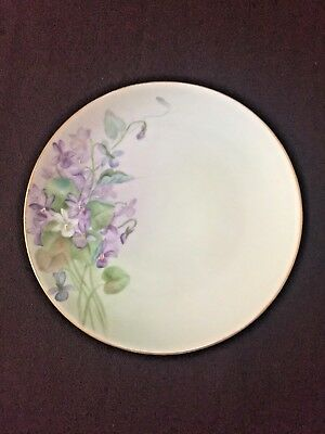 """Vintage Nippon Hand Painted Plate w Purple Violets ~ 6-1/4"""" Signed B. Sperry"""