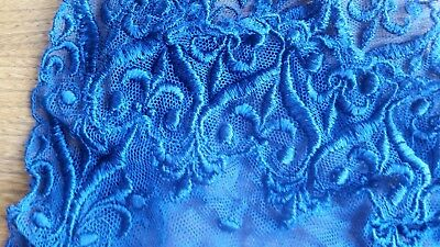 Vintage Navy Blue Raised Lace Scarf Victorian Edwardian