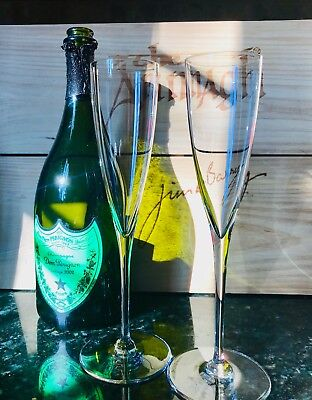 """2 Baccarat Dom Perignon Crystal Champagne Flutes 9.25"""" Made in France Etched"""