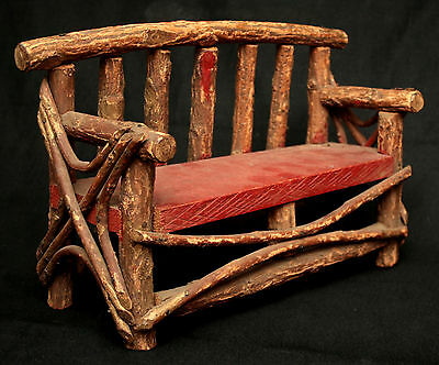 Settee, Bench, Miniature, Naturalistic Rustic willow twig, Adirondack, c1900,15""