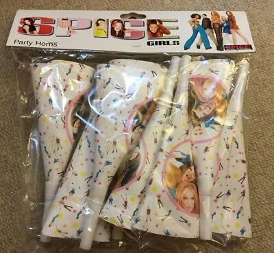 Spice Girls Party Horns 1997.sealed,unused,original Packing.8 Horns  In Packet