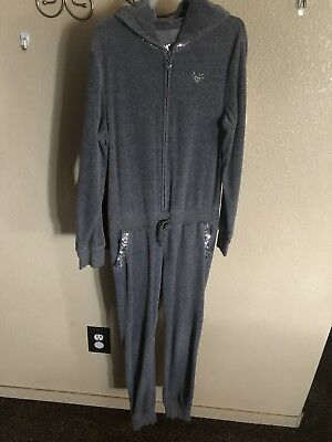 Justice Girls Gray FAMOUS Outfit One-Piece Jumpsuit Top Pants Size 10 Romper