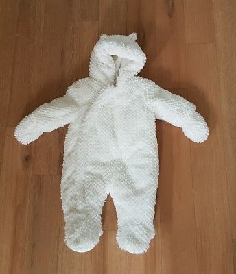Mothercare baby snow suit white 0 - 3 months Autumn Winter zip up *imperfect