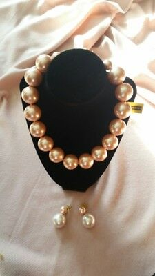 Vintage Chunky Faux Pearl Necklace & Earrings W/tags - Jennifer Moore - Stunning