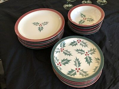 Denby-Langley Holly Red and Green 36 piece set - Mint Condition