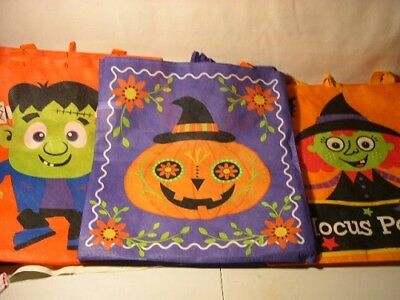 (10)  Trick Or Treat Nylon  16 1/2 X 14 1/2 Bags ~ See Pics For Patterns