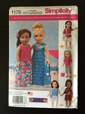 """Simplicity 1178 Sewing Pattern American Girl 18"""" Doll Clothes Maxi Dresses"""