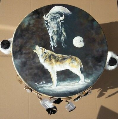 """HAND PAINTED , RAW HIDE DRUM TABLE ,23""""x 14"""", LOG , SOUTHWEST FURNITURE , #1"""