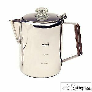 Texsport camping 9 cup stainless steel camp percolator coffee pot 13215