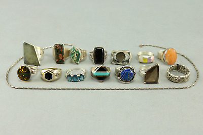 LOT OF 14 Rings 1 Necklace - 925 Sterling Silver 15 Pieces TOTAL -4.39 Oz/124.5g