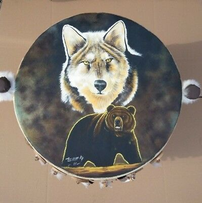 """HAND PAINTED , RAW HIDE DRUM TABLE ,23""""x 14"""", LOG , SOUTHWEST FURNITURE , #2"""
