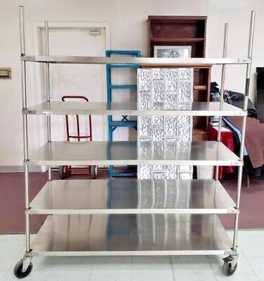 Commercial Stainless Steel Five Shelf  5' x 2' x 6' Mobile Cart