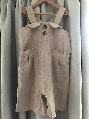 Hucklebones Wool Beige Cream Playsuit Jumpsuit VGC Age 8