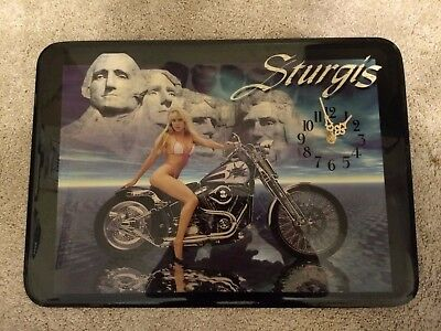 Vintage STURGIS pin up with Mount Rushmore wall clock