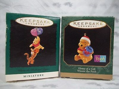 Hallmark 1996 Winnie the Pooh Tigger 1997 Honey of a Gift Miniature Ornaments