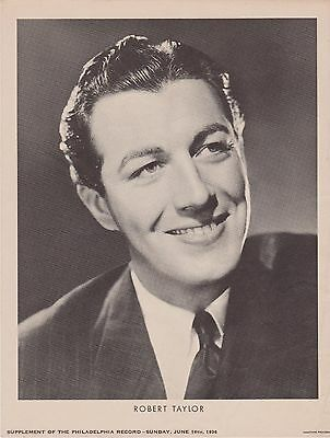 Rare Vintage 1936 Robert Taylor Promo Photo Supplement From Philadelphia Record