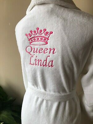 Personalised Luxury Embroidered 100% terry  Cotton Bathrobe ,Dressing gown,robe