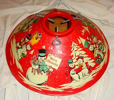 Vintage Coloramic Christmas Tree Stand Mr & Mrs Snowman Vivid Colors Red Look !!