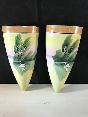 Vintage Matched Pair Japanese Luster Ware Wall Pockets Hand Painted Swans