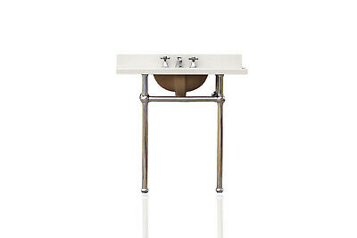 Antique Inspired Bath Console Sink Art Deco Vanity Chrome Legs Italian White