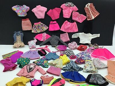Vintage Barbie Cloths Lot Skirts Shorts Shirts Swimsuits Pink Plaid Striped Top