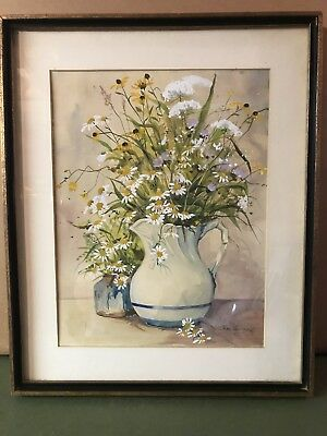 Original Watercolor Jane Carlson Listed Artist 1975 Floral in Pitcher Still Life