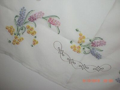 Vintage Embroidered Tablecloth, Lilac Bouquets