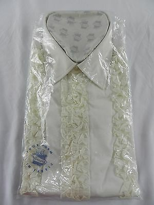 Vintage White Ivory LS RUFFLED Dress Shirt Size 16 1/2 Excello New Halloween Cos