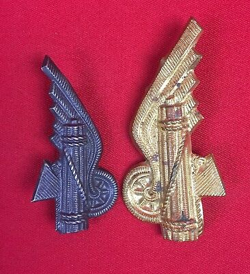 Ww2 Italian Fascist Railway Militia Insignia 2 Pieces  Original Wwii