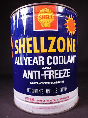 Vintage SHELL SHELLZONE ANTIFREEZE 1 Gallon empty metal can