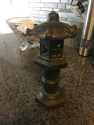 Antique Cast Iron Asian Japanese Pagoda Incense Burner Lamp Statue Figurine