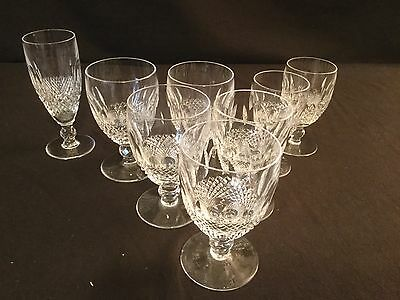 Waterford Crystal Colleen Champagne Flute Water Goblet Claret Wine Set 8 AS IS