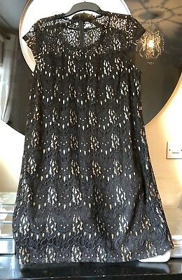 Joe Browns Black & Gold Soft Lace Occasion Shift Dress Size 20 Immaculate