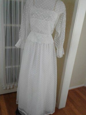 Vtg Designer Victor Costa Small Medium Wedding Bridal Formal Long White Dress