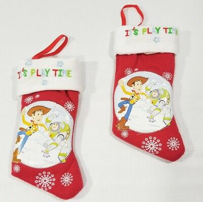 """2 Disney Toy Story Mini Christmas Stockings """"Its Play Time"""" Woody & Buzz"""