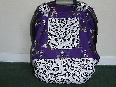 *NIGHTMARE BEFORE CHRISTMAS*Fitted w/peekaboo Handmade Car Seat Canopy-Cover