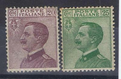 Italy 1917 Victor Emmanuel 20 cent and 25 cent SG 180, 182 Mint MH see note