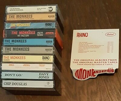 Lot Of 10 The Monkees Cassette Tapes AND 10 more free Monkees rarities + promo