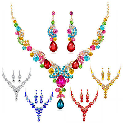 Prom Wedding Bridal Party Crystal Rhinestone Necklace Earrings Jewelry Set GifWG
