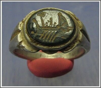** GALLEY **Ancient Silver Roman Ring ** GREEN INTAGLIO **