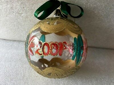 Waterford Holiday Heirlooms Ball  Glass Ornament 2000-2001