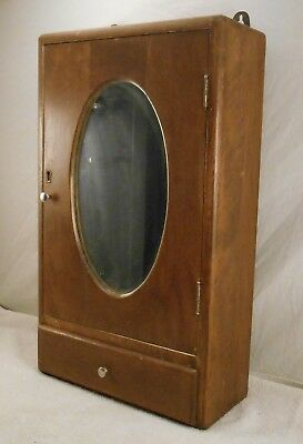 Old Vintage Wood Medicine Cabinet Oval Bathroom Mirror Cabinet
