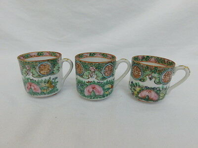Chinese Canton Famille Rose China Butterfly Medallion 3 Demitasse Cups