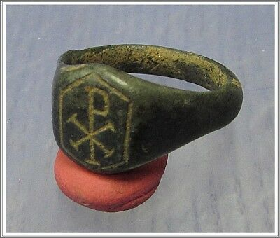 ** CHI-RHO **Ancient Bronze Roman Ring **AMAZING **