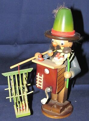 Vintage Steinbach Musical Wooden Smoker, Organ Grinder with Birds
