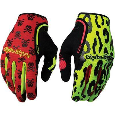 Troy Lee Designs XC Off-Road MX ATV Dirt Gloves Anarchy Flo Yellow Red Large